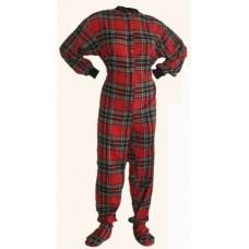 Flanell - Schlafoverall Jumpsuit Einteiler rot schwarz kariert Holzfällermotiv RED AND BLACK