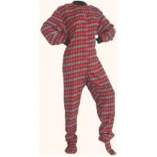 Flanell - Schlafoverall Jumpsuit Einteiler rot schwarz kariert Herzen RED & BLACK WITH GREY HEARTS