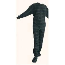 Flanell - Schlafoverall Jumpsuit Einteiler dunkelblau grün kariert NAVY BLUE AND GREEN
