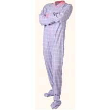 Flanell - Schlafoverall Jumpsuit Einteiler rosa blau kariert BABY BLUE AND PINK