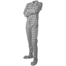 Flanell - Schlafoverall Jumpsuit Einteiler grau weiss kariert GREY AND WHITE