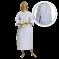 Suprima 4064-064 - Pflegehemd Baumwolle, zum Binden, 3/4 Arm weiß bedruckt Einheitsgröße