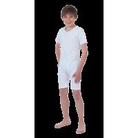 Suprima 4700 - Pflegebody für Kinder BW/Elast, Kurzarm, mit kurzem Bein, Bein-RV weiß