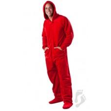 Chenille - Schlafoverall Jumpsuit Einteiler rot HEATWAVE mit Kapuze