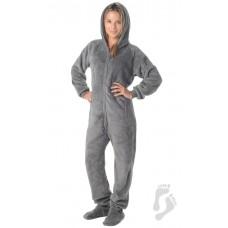 Chenille - Schlafoverall Jumpsuit Einteiler grau HOWLING MOON mit Kapuze