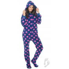 Chenille - Schlafoverall Jumpsuit Einteiler dunkelblau rosa Punkte NAVY PINK POLKA mit Kapuze