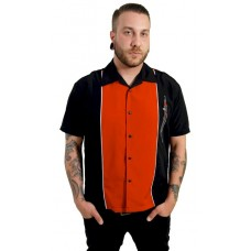 "Charlie Harper Shirt Bowling-Hemd ST34526BLKRED ""Three Kings Button Up"" Schwarz Rot"