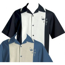 "Charlie Harper Shirt Bowling-Hemd ST34574 BLACK ""CONTRAS CROWNS BUTTON UP"" Schwarz Grau"