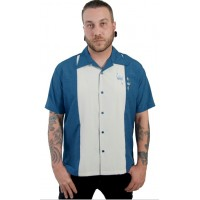 "Charlie Harper Shirt Bowling-Hemd ST34574BLUE ""CONTRAS CROWNS BUTTON UP"" Blau Grau"