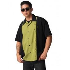 """Charlie Harper Shirt Bowling-Hemd ST34577  """"Crosshatch Button Up"""" Schwarz Grün"""