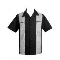 "Charlie Harper Shirt Bowling-Hemd ST35306 ""Houndstooth Panel Black"" Schwarz Grau"