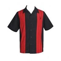 "Charlie Harper Shirt Bowling-Hemd ST35311BLK ""Double Panel Stitch"" Schwarz Rot"