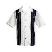 """Charlie Harper Shirt Bowling-Hemd ST35311STO """"Double Panel Stitch"""" Weiß Schwarz"""