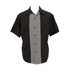 Charlie Harper Shirt Bowling-Hemd ST34661 Pop Check Center Contras Schwarz Grau