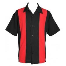 "Charlie Harper Shirt Bowling-Hemd ST37055 ""POPLIN MINI PANEL"" Rot Schwarz"