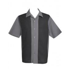 "Charlie Harper Shirt Bowling-Hemd ST37056 ""Poplin Mid Panel"" Schwarz Grau"