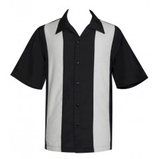 "Charlie Harper Shirt Bowling-Hemd ST37058 ""POP CHECK MINI PANEL"" Grau Schwarz"