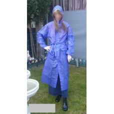 PVC Plastik Mantel Regenmantel Folienmantel Damen Retro Blau JD