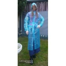 PVC Plastik Mantel Regenmantel Folienmantel Damen Retro Blau transparent JD