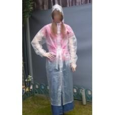 PVC Plastik Mantel Regenmantel Folienmantel Damen Retro Natur transparent JD