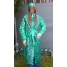 PVC Plastik Mantel Regenmantel Folienmantel Damen Retro Grün transparent JD