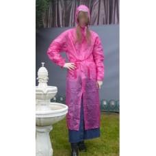 PVC Plastik Mantel Regenmantel Folienmantel Damen Retro Pink JD