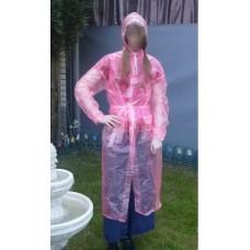 PVC Plastik Mantel Regenmantel Folienmantel Damen Retro Rosa transparent JD