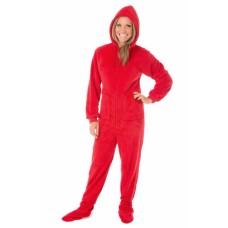 Chenille - Schlafoverall Jumpsuit Einteiler rot PLUSH RED mit Kapuze