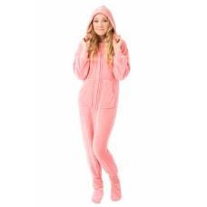 Chenille - Schlafoverall Jumpsuit Einteiler rosa PLUSH PINK mit Kapuze